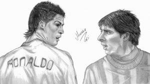CR7 y Messi a lápiz