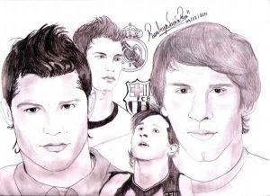 dibujos a lapiz de CR7 y Messi
