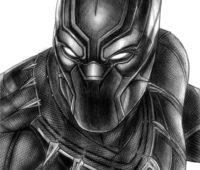 black panther a lápiz