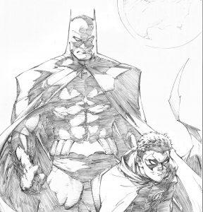 dibujos de batman y robin a lapiz