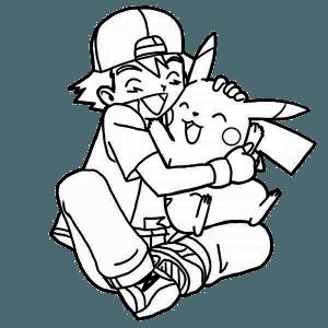 dibujos de pikachu y ash para colorear
