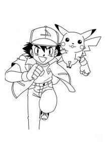 dibujos de pikachu y ash para niños