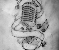 dibujos de tatuajes faciles a lapiz de música
