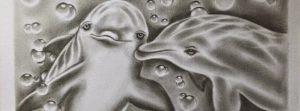 delfines enamorados a lápiz