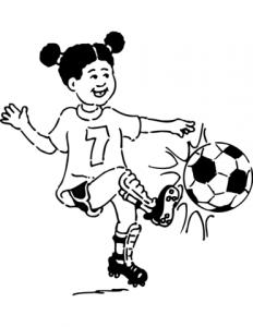 niñas jugando futbol a lápiz