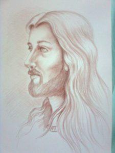 retrato de jesús a lápiz