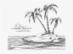 dibujos de playas a lápiz