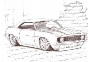 dibujos a lápiz de autos