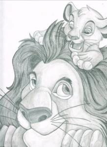 dibujos del rey leon a lápiz