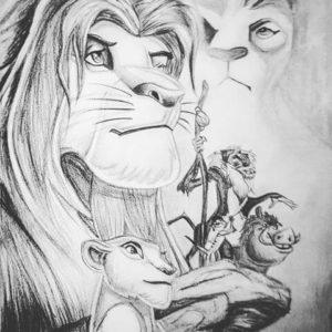 el rey leon hecho a lápiz