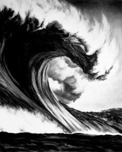 ola del mar a lápiz