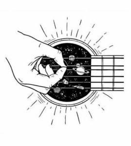 dibujo de una guitarra a lápiz