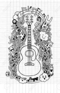 dibujos de guitarras en lápiz