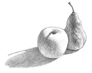 dibujos de frutas con sombras