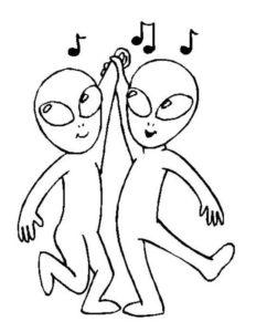 aliens en lápiz