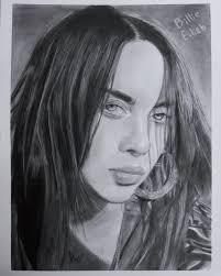 retrato de billie ellish a lápiz