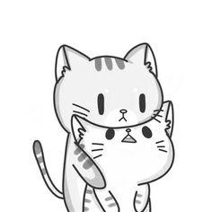 gatitos enamorados a lápiz